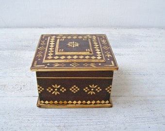 Moroccan Wood Box, Inlaid Wooden Jewelry Box, Geometric Micro Mosaic Decorative Box, Artisan Khatam Marquetry Treasure Box Vanity Desk Decor