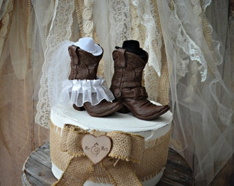 Cowboy Boots Wedding Cake Topper Texas Country By