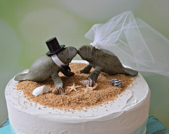 Manatee couple wedding cake topper-Beach wedding-Beach wedding topper-destination wedding-Manatees-wedding cake topper