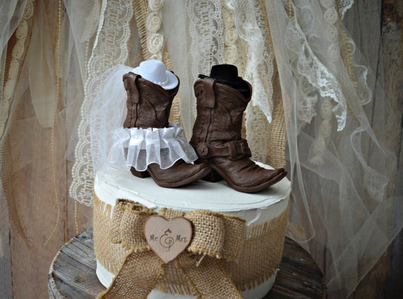 His And Hers Western Boots Wedding Cake Topper Cowboy
