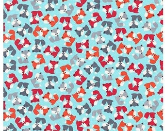 Sky Blue MINI Foxes From Robert Kaufman's Urban Zoologie Mini Collection