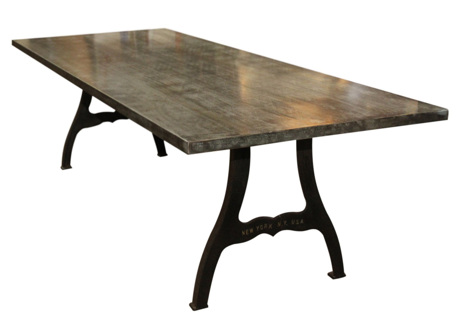 Galvanized steel table with new york industrial legs for Table new york