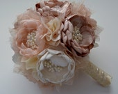 Fabric Bouquet- Champagne, Cream, and Ivory Bouquet - Fabric Flower Bouquet, Heirloom Bouquet, Forever Bouquet, Bridal Bouquet, Large Size