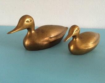 Vintage pair of brass ducks