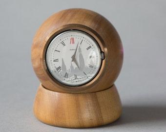 Modern table clock, Pobeda clock wooden, rare clock small, mechanical clock, home decor clock, modern home decor