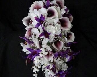 Cascading picasso calla lily hydrangea bouquet, dendrobium orchid, white, purple, teardrop bouquet, bridal bouquet