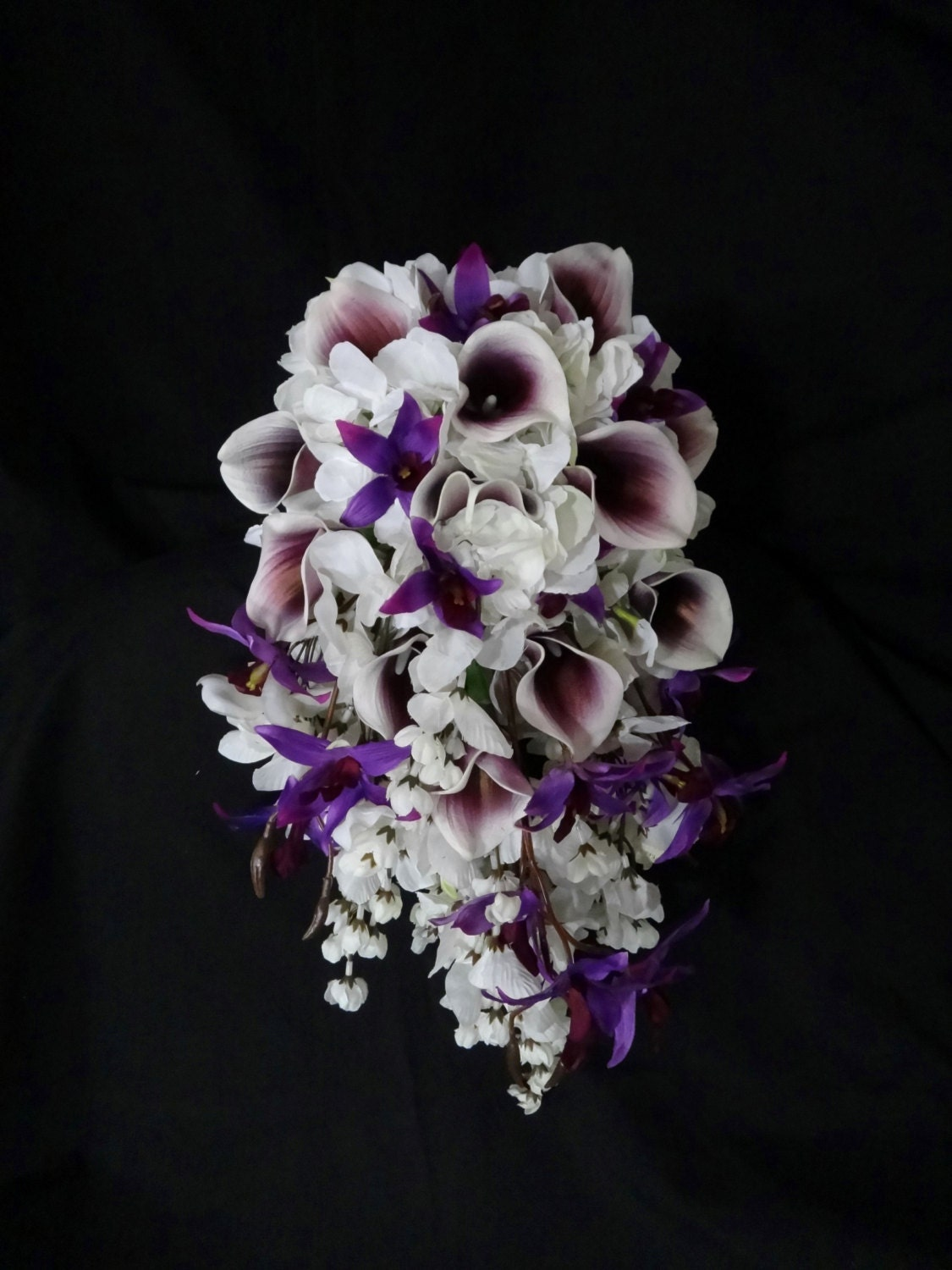 Bridal Bouquet With Calla Lilies And Hydrangeas : Cascading picasso calla lily hydrangea bouquet dendrobium
