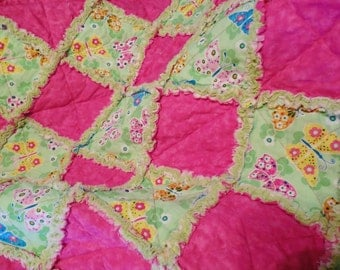 Pink and Light Green Butterfly Rag Quilt