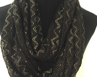 New Black, Silver and Sequenced Laced Zig Zag Chevron Infinity Scarf. MUST SEE