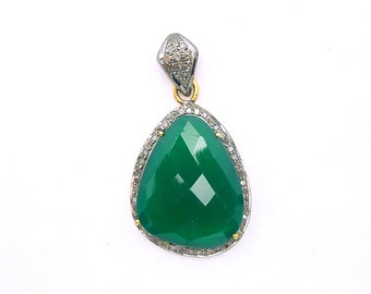 Green Onxy Cabochon set in a Gold Vermeil and Pave DIAMOND Bezel- Green Onyx Penadant (EX13-14B)