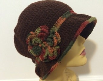 Brown Cloche Brim Hat, Woman Winter Brim Cloche Hat