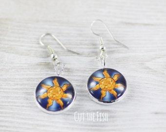 Space Earrings - Earrings - Art Jewelry - Sun Earrings - Blue Earrings - Yelow Earrings - Unique Earrings by Cut the Fish (0-81E)