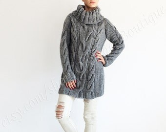 SANTA Hand Knitted Sweater wool gray sweater dress turtleneck slouchy cable-knitted oversized winter fall jumper