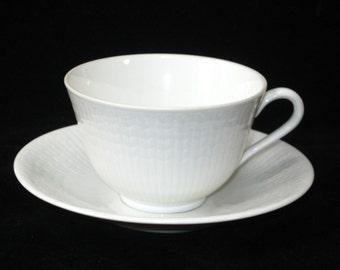 Rorstrand Sweden SWEDISH GRACE Vintage Teacup and Saucer Set - White Embossed Porcelain by Louise Adelborg