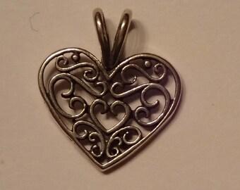 Small Sterling Swirl Heart Charm Pendant