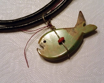 Turquoise Fish Pendant on Leather