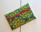 Teal Green and Golden Yellow with Pink Zipper Feminine Front Zippered Pouch PUL lined