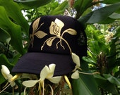 Black trucker with hand painted gold ginger