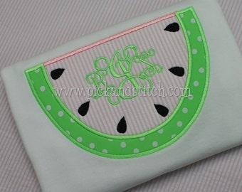 Girl's Watermelon Monogram Applique shirt - Summer Shirt - Summer Designs