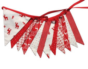Christmas Bunting - Red Nordic Scandi Style Flags - Reindeers & Stars Banner, Party Decoration . HANDMADE Xmas pennant
