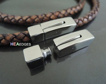 1 Set Silver Square Clasp 6mm - Findings Stainless Steel Square Clasp Leather Cord End Cap Open Connector 30mm x 8mm