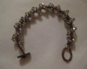 Sparkle spiral bracelet in amber, purples and black