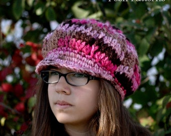 Crochet PATTERN - Crochet Hat Pattern - Crochet Newsboy Hat Pattern - Baby Crochet Patterns - Baby, Toddler, Child, Adult Sizes - PDF 222
