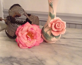 Fitz And Floyd Collectible Applied Pink Rose Vase 1987
