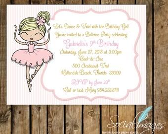 "Ballerina Birthday Invitation 7"" X 5"" - DIGITAL FILE"