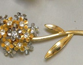 REDUCED - Vintage Sweet Flower Brooch in Gold and Silver Metal with Layers of Petals and Rhinestones