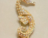 Petite Seahorse Brooch - Unsigned Gold Metal and AB Rhinestones - Beautiful 1980s Memory-Price Reduced