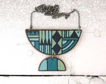 Statement Necklace  Blue and Green  Geometric Necklace Contemporary Necklace Wood Necklace