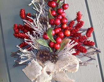 Pine Tree Twig Shape with Pine Cones Red Berries Burlap Bow
