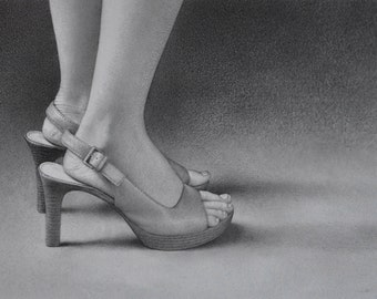 """Graphite Pencil Drawing, Photo Realistic, High-heeled Shoes, Drawing titled """"Almost,"""" Pencil Drawing, Drawing of shoes, Small dtawing"""