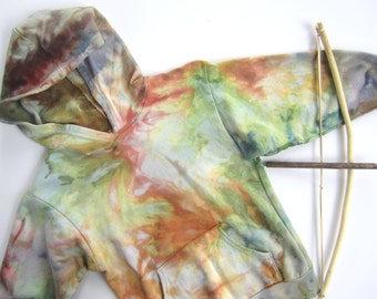 Size 6 Hoodie for Children, Ice Dyed in Earth Tones, Cotton Fleece