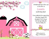 On the farm invitation, farm invitation, farm girl invitations, birthday invitations, pink farm invite, pink farm invitation, PRINT your own