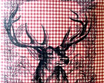 """shabby chic, feed sack, french country, vintage reindeer Christmas graphic on red and cream gingham check 14"""" x 14"""" pillow sham."""
