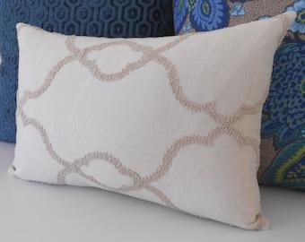 SALE Cream embroidered trellis decorative pillow cover