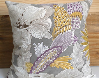 Double sided Purple and yellow floral decorative pillow