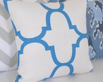 CLEARANCESALE Turquoise quatrefoil designer pillow cover, Windsor Smith for Kravet