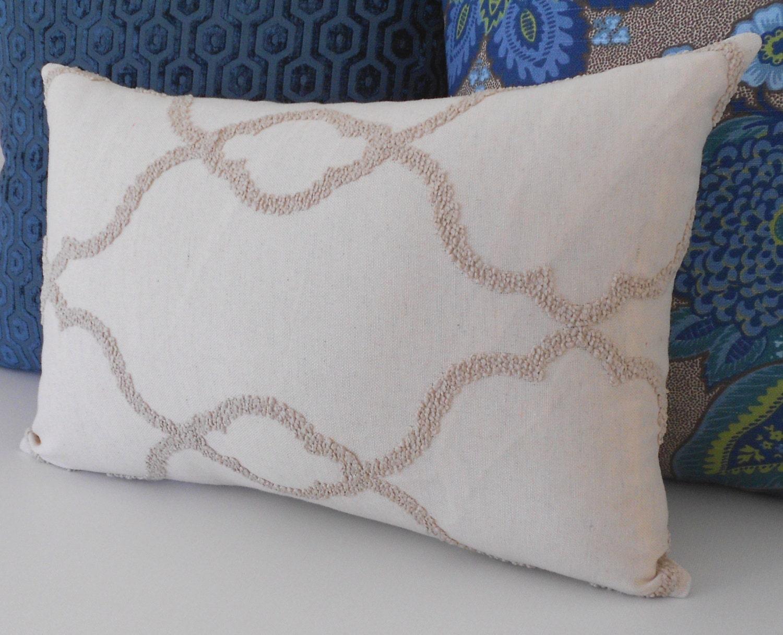 Cream embroidered trellis decorative pillow cover