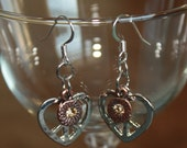 Heart Shaped Peace Sign Charm Dangle Earrings