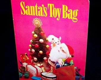 Vintage 3D Puppet Christmas Book - Santa's Toy Bag - 1970
