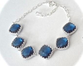 Navy blue bracelet - Bridal jewelry - Maid of honor ~ Bridesmaids - Blue jewelry - Something blue ~ Birthday, anniversary, Gift ~