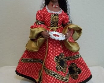 Art doll, cloth,  hand-made, needled-sculpted, Renaissance clothing, Queen of Hearts. Reduced!