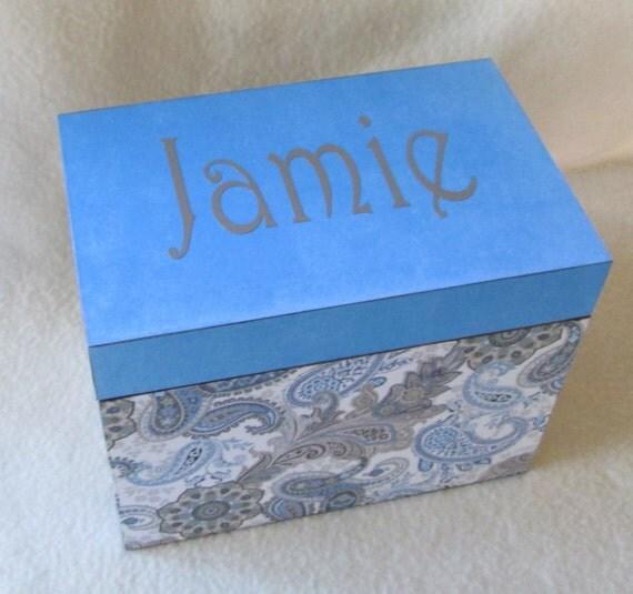 Recipe Box -  Blue and Brown Paisley 4X6 Wooden Recipe Box - Personalized- Keepsake Box