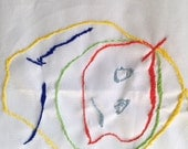 Hand Embroidered Baby Jude Art Tea Towel