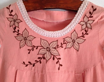 Vintage Embroidered Dress with Pockets