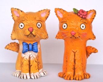 Fluffy Orange Cat Bride and Groom wedding cake topper