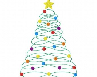 Instant Download Infinity Christmas Tree Machine Embroidery Applique Design 4x4, 5x7 and 6x10